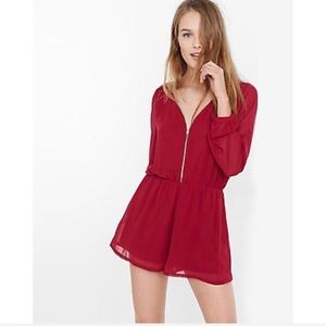 Express zip front romper - red